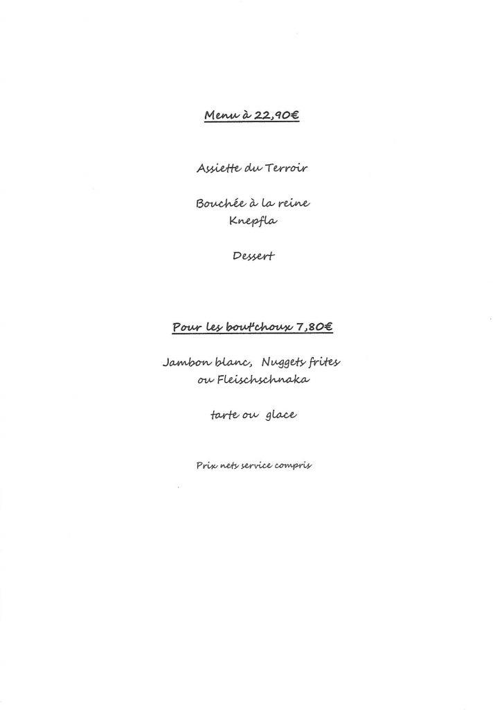 Carte de menu et menu enfant auberge du lac kruth
