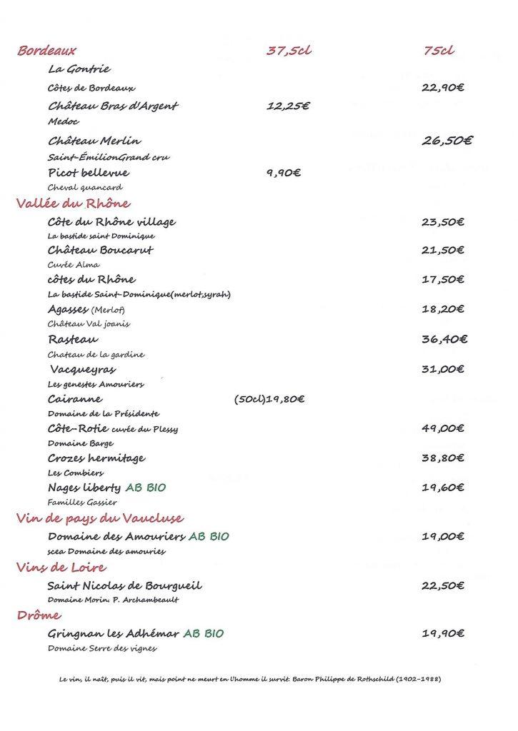 Suite carte des vins auberge du lac 68 kruth
